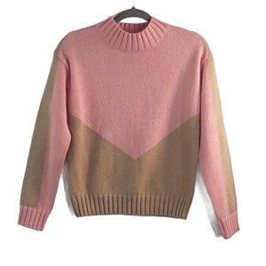 Anthropologie Penny Colorblock Sweater Small Pink